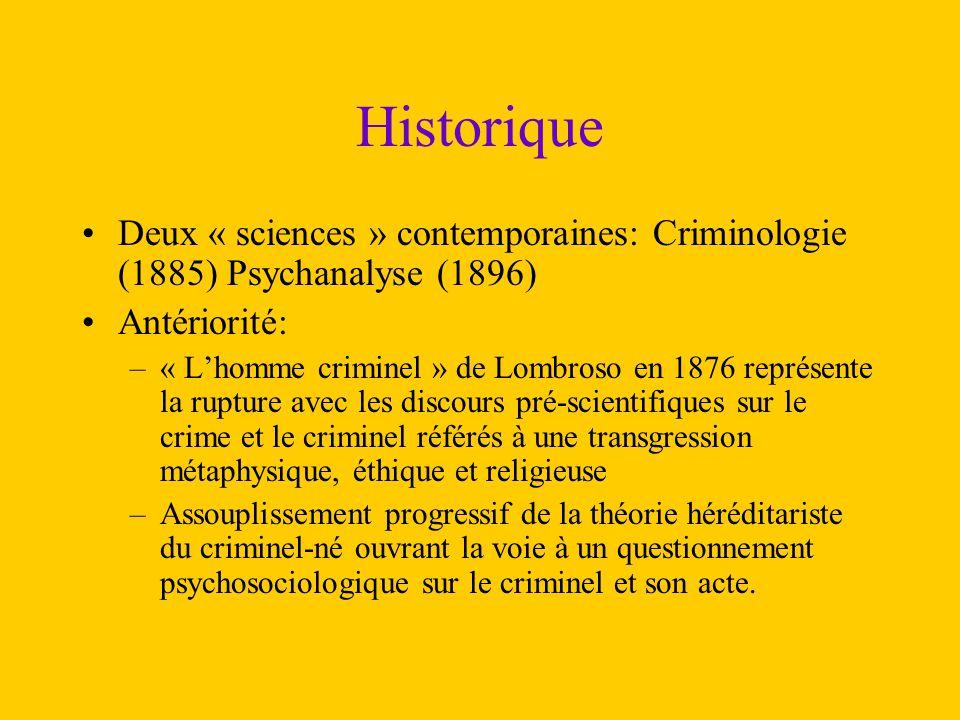 Historique Deux « sciences » contemporaines: Criminologie (1885) Psychanalyse (1896) Antériorité: –« L'homme criminel » de Lombroso en 1876 représente