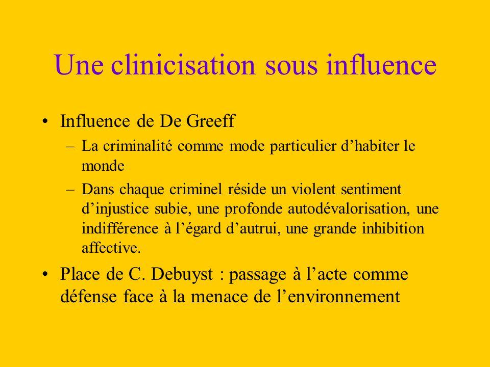 Une clinicisation sous influence Influence de De Greeff –La criminalité comme mode particulier d'habiter le monde –Dans chaque criminel réside un viol