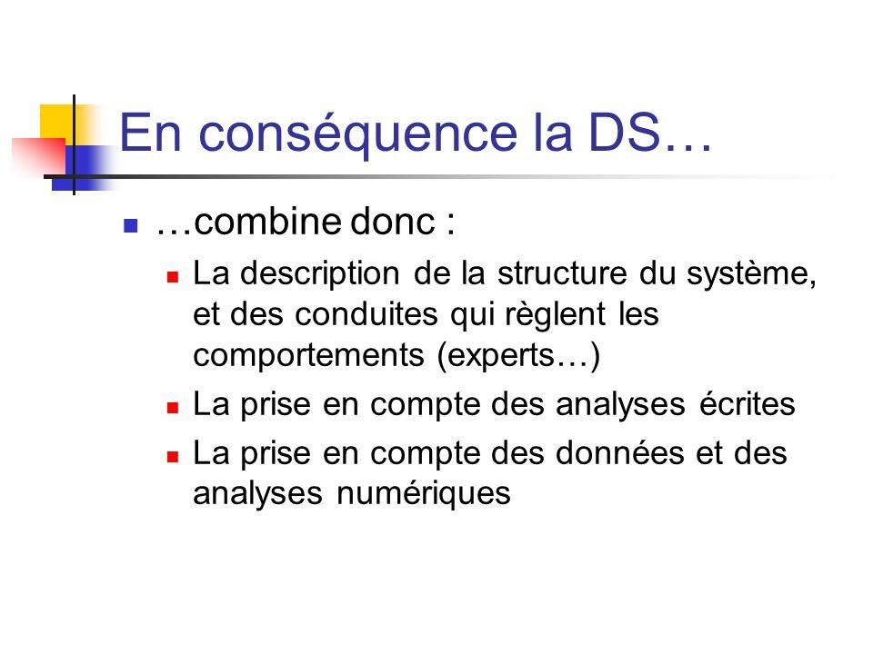 En conséquence la DS… …combine donc : La description de la structure du système, et des conduites qui règlent les comportements (experts…) La prise en compte des analyses écrites La prise en compte des données et des analyses numériques
