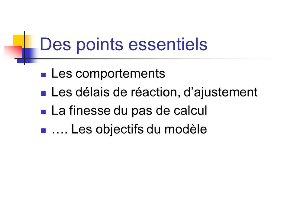 Des points essentiels Les comportements Les délais de réaction, d'ajustement La finesse du pas de calcul …. Les objectifs du modèle
