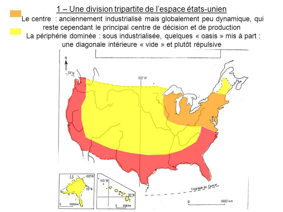 1 – Une division tripartite de l'espace états-unien Le centre : anciennement industrialisé mais globalement peu dynamique, qui reste cependant le principal centre de décision et de production La périphérie dominée : sous industrialisée, quelques « oasis » mis à part : une diagonale intérieure « vide » et plutôt répulsive