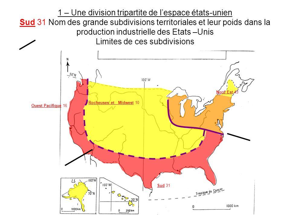 1 – Une division tripartite de l'espace états-unien Sud 31 Nom des grande subdivisions territoriales et leur poids dans la production industrielle des Etats –Unis Limites de ces subdivisions Sud 31 Nord Est 43 Ouest Pacifique 16 Rocheuses et Midwest 10