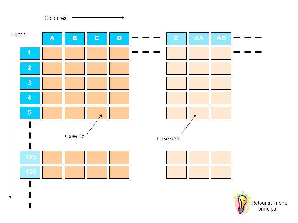 ABCDZAAAB 1 2 3 4 5 125 126 CZ Colonnes Lignes Case C5 Case AA5 Retour au menu principal
