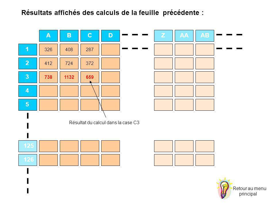 ABCDZAAAB 1 2 3 4 5 125 126 CZ 326408287 412724372 7381132659 Résultat du calcul dans la case C3 Retour au menu principal Résultats affichés des calcu