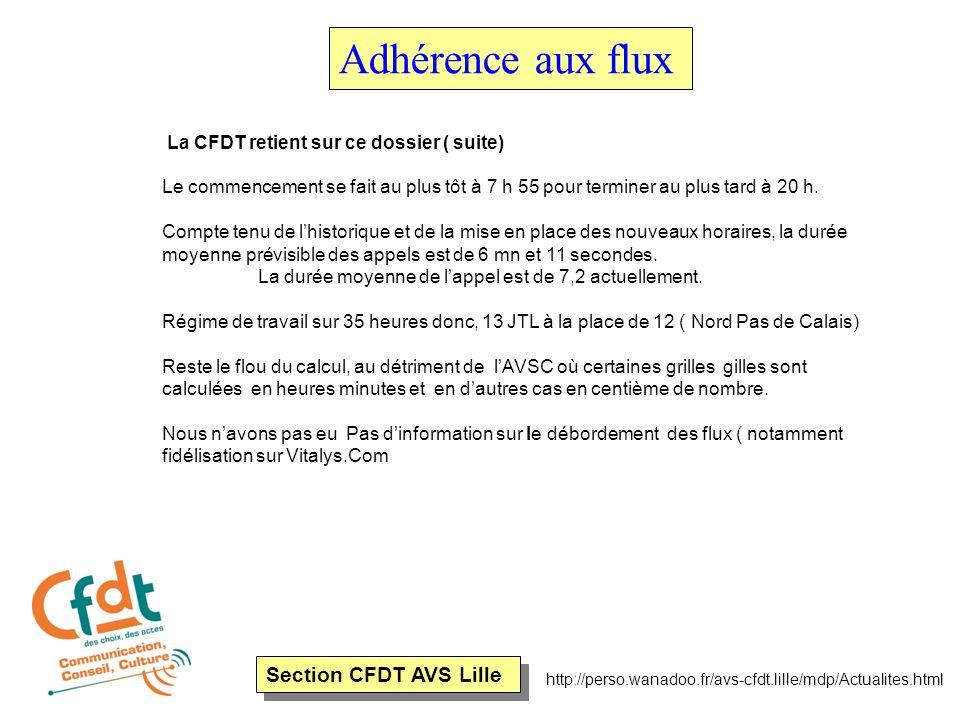 Section CFDT AVS Lille http://perso.wanadoo.fr/avs-cfdt.lille/mdp/Actualites.html Adhérence aux flux La CFDT retient sur ce dossier ( suite) Le commen