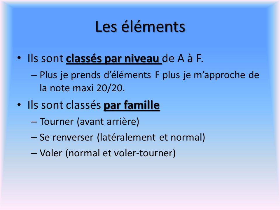Les éléments classés par niveau Ils sont classés par niveau de A à F. – Plus je prends d'éléments F plus je m'approche de la note maxi 20/20. par fami