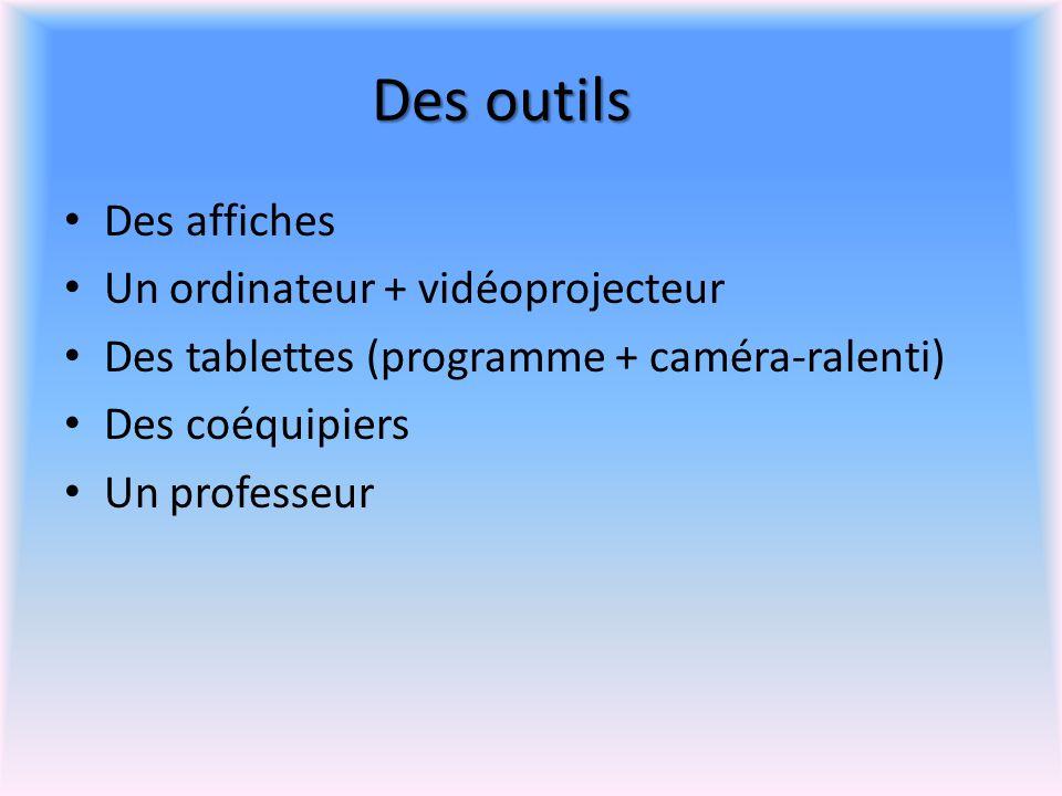Des outils Des affiches Un ordinateur + vidéoprojecteur Des tablettes (programme + caméra-ralenti) Des coéquipiers Un professeur