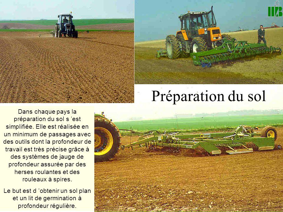 Préparation du sol Dans chaque pays la préparation du sol s 'est simplifiée. Elle est réalisée en un minimum de passages avec des outils dont la profo
