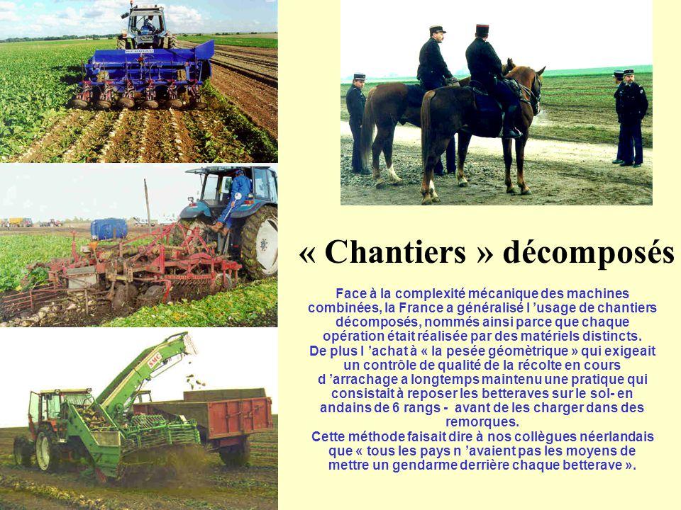 « Chantiers » décomposés Face à la complexité mécanique des machines combinées, la France a généralisé l 'usage de chantiers décomposés, nommés ainsi parce que chaque opération était réalisée par des matériels distincts.
