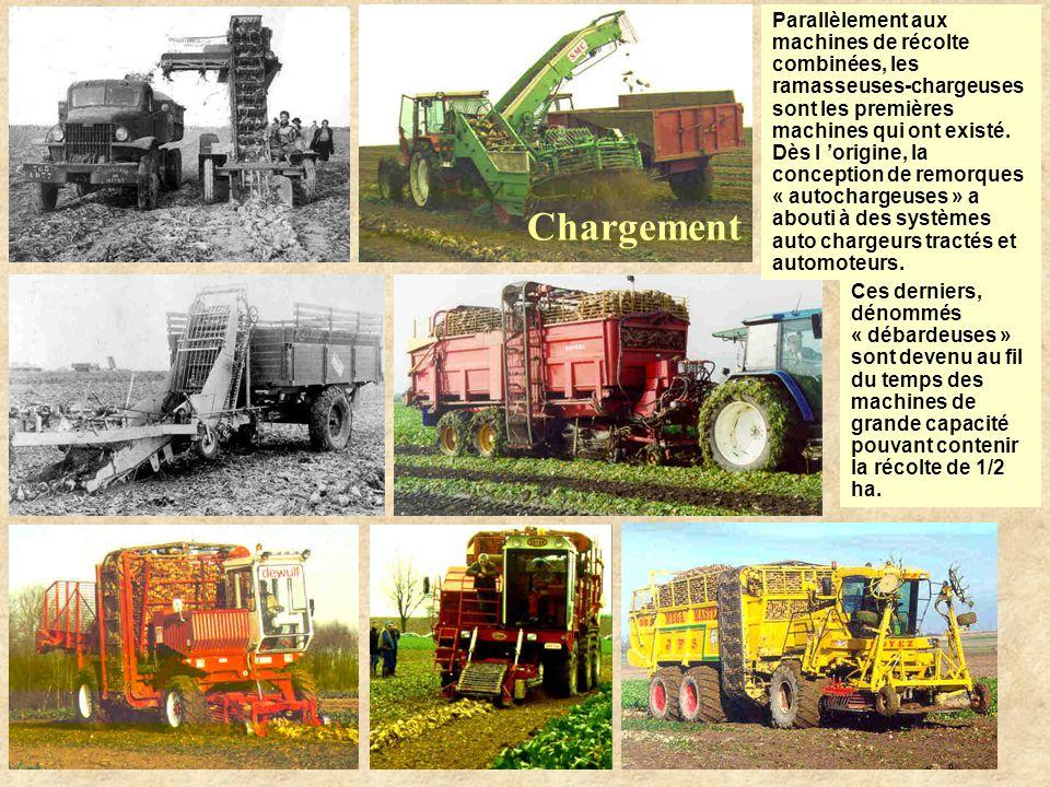 Chargement Parallèlement aux machines de récolte combinées, les ramasseuses-chargeuses sont les premières machines qui ont existé.