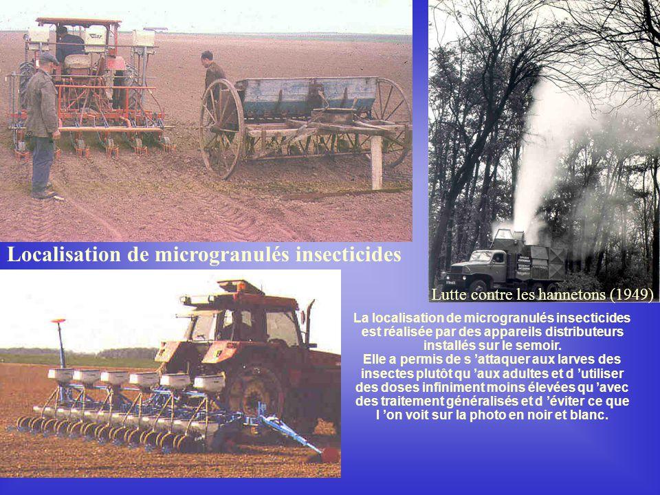 Localisation de microgranulés insecticides Lutte contre les hannetons (1949) La localisation de microgranulés insecticides est réalisée par des appareils distributeurs installés sur le semoir.