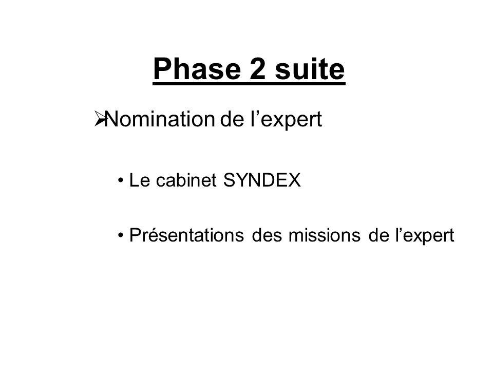 Phase 2 suite  Nomination de l'expert Le cabinet SYNDEX Présentations des missions de l'expert