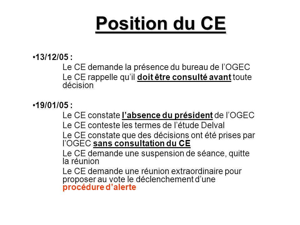 Position du CE 13/12/05 : Le CE demande la présence du bureau de l'OGEC Le CE rappelle qu'il doit être consulté avant toute décision 19/01/05 : Le CE constate l'absence du président de l'OGEC Le CE conteste les termes de l'étude Delval Le CE constate que des décisions ont été prises par l'OGEC sans consultation du CE Le CE demande une suspension de séance, quitte la réunion Le CE demande une réunion extraordinaire pour proposer au vote le déclenchement d'une procédure d'alerte