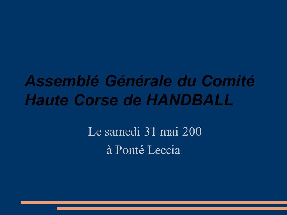 Assemblé Générale du Comité Haute Corse de HANDBALL Le samedi 31 mai 200 à Ponté Leccia