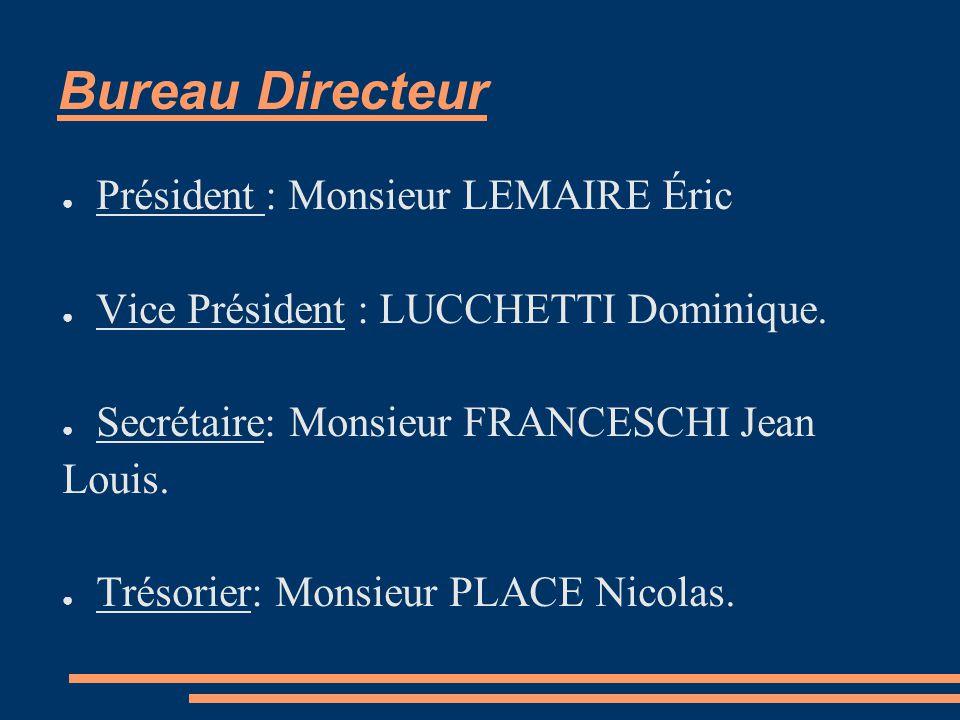 Bureau Directeur ● Président : Monsieur LEMAIRE Éric ● Vice Président : LUCCHETTI Dominique.