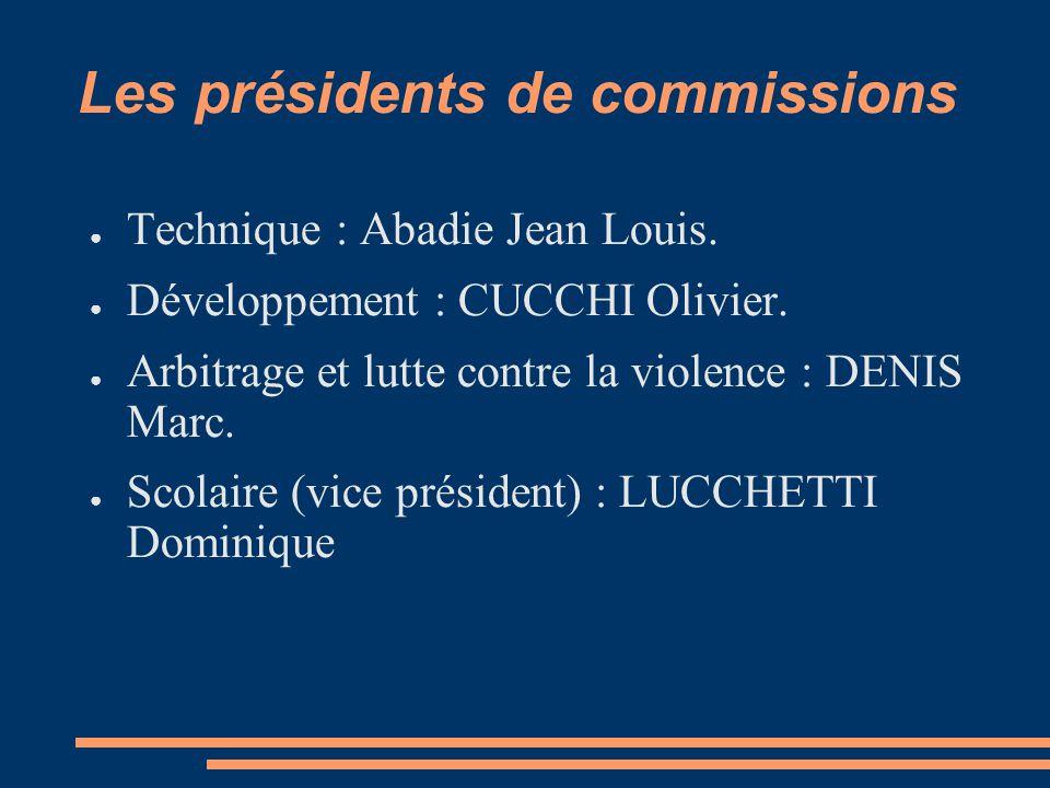 Les présidents de commissions ● Technique : Abadie Jean Louis.