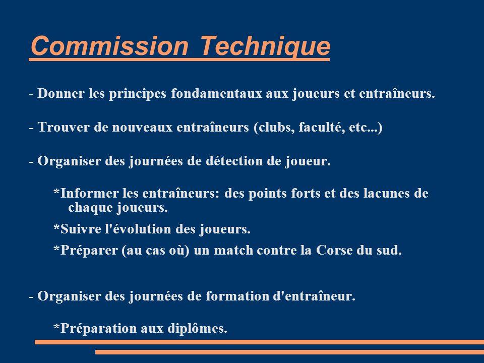 Commission Technique - Donner les principes fondamentaux aux joueurs et entraîneurs.