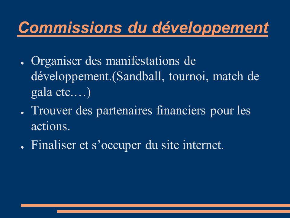 Commissions du développement ● Organiser des manifestations de développement.(Sandball, tournoi, match de gala etc.…) ● Trouver des partenaires financiers pour les actions.