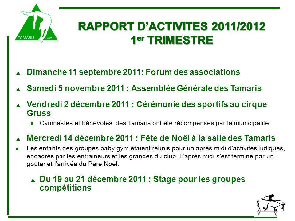  Samedi 28 janvier 2012 : 1 er parcours à la Salle Karine Boucher Passage de la première étape des Parcours pour les jeunes gymnastes de l Ecole de Gym, et démonstrations des groupes de gymnastique loisir« et « compétition ».