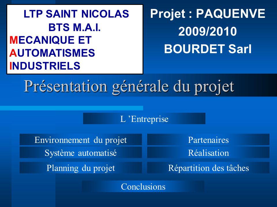 Présentation générale du projet Projet : PAQUENVE 2009/2010 BOURDET Sarl Répartition des tâchesPlanning du projet Partenaires Système automatiséRéalis