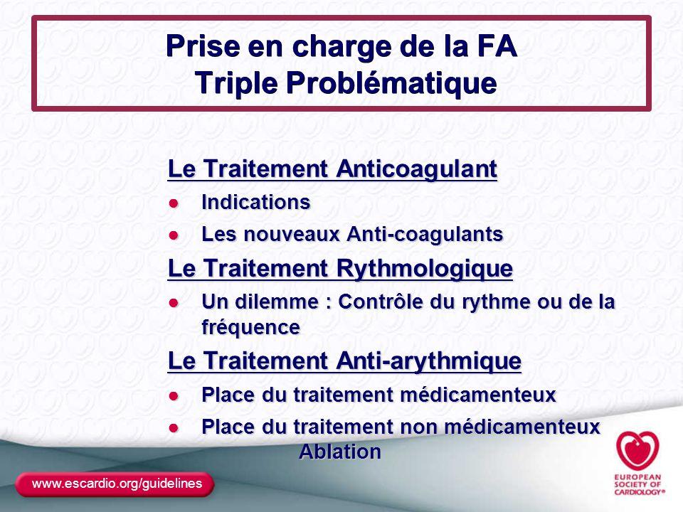 Prise en charge de la FA Triple Problématique Le Traitement Anticoagulant ●Indications ●Les nouveaux Anti-coagulants Le Traitement Rythmologique ●Un d