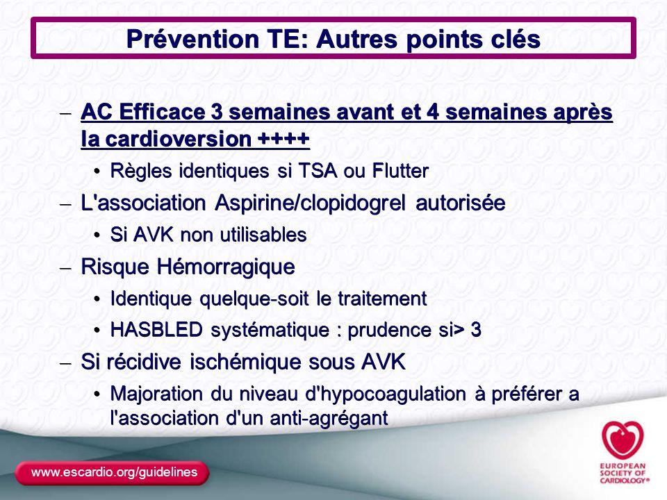Prévention TE: Autres points clés – AC Efficace 3 semaines avant et 4 semaines après la cardioversion ++++ Règles identiques si TSA ou Flutter Règles