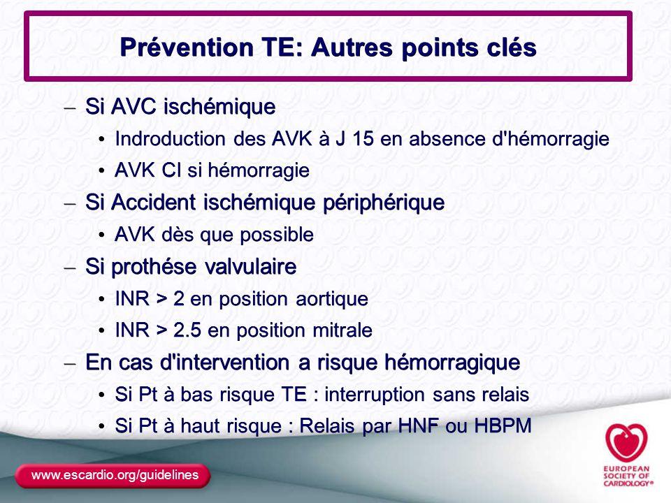 www.escardio.org/guidelines Prévention TE: Autres points clés – Si AVC ischémique Indroduction des AVK à J 15 en absence d'hémorragie Indroduction des