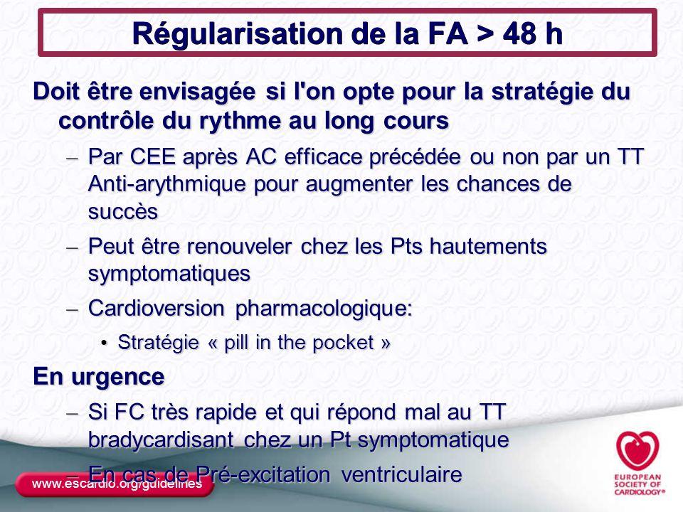 Régularisation de la FA > 48 h Doit être envisagée si l'on opte pour la stratégie du contrôle du rythme au long cours – Par CEE après AC efficace préc
