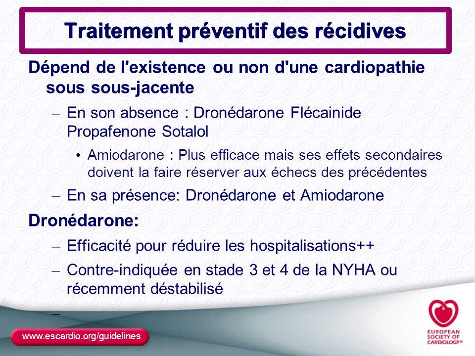 www.escardio.org/guidelines Traitement préventif des récidives Dépend de l'existence ou non d'une cardiopathie sous sous-jacente – En son absence : Dr
