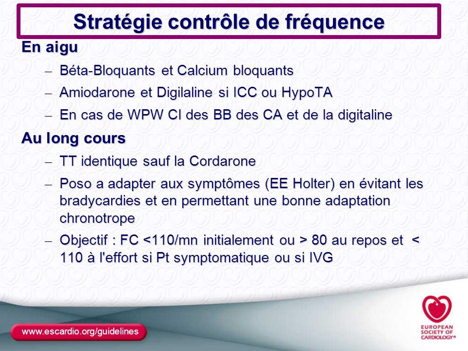 Stratégie contrôle de fréquence En aigu – Béta-Bloquants et Calcium bloquants – Amiodarone et Digilaline si ICC ou HypoTA – En cas de WPW CI des BB de
