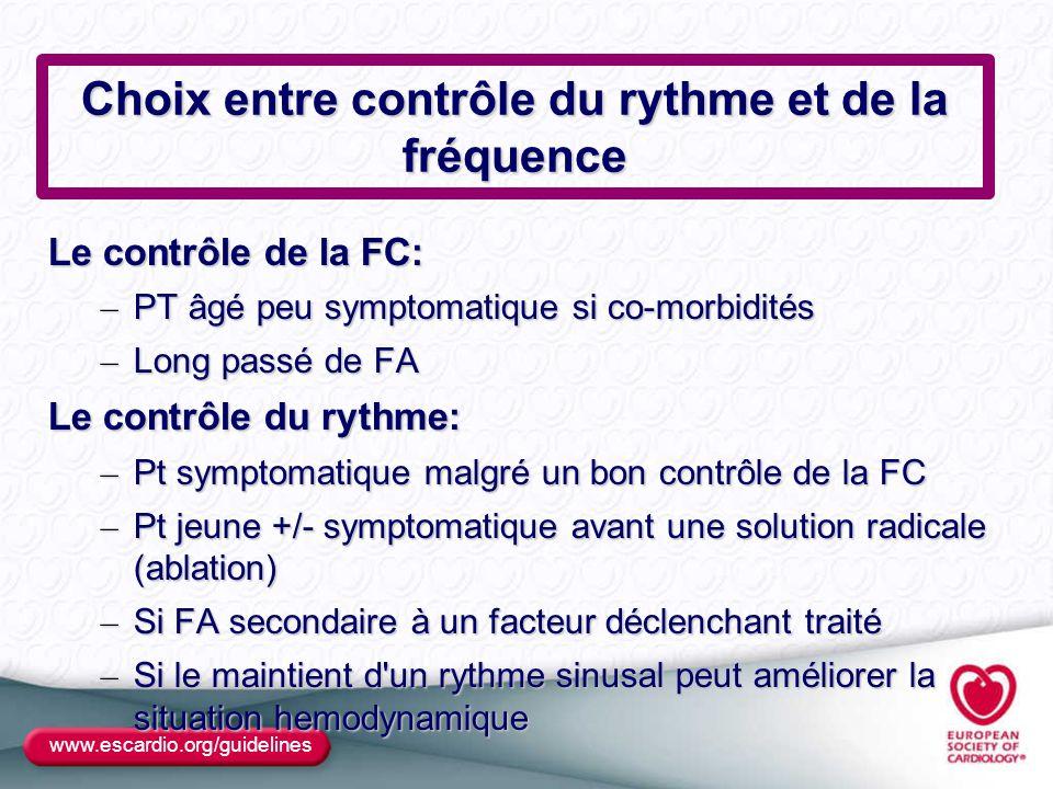 Choix entre contrôle du rythme et de la fréquence Le contrôle de la FC: – PT âgé peu symptomatique si co-morbidités – Long passé de FA Le contrôle du