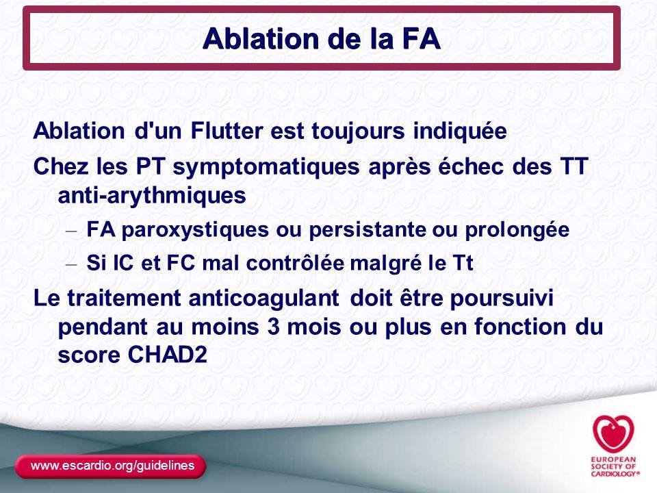 Ablation de la FA Ablation d'un Flutter est toujours indiquée Chez les PT symptomatiques après échec des TT anti-arythmiques – FA paroxystiques ou per
