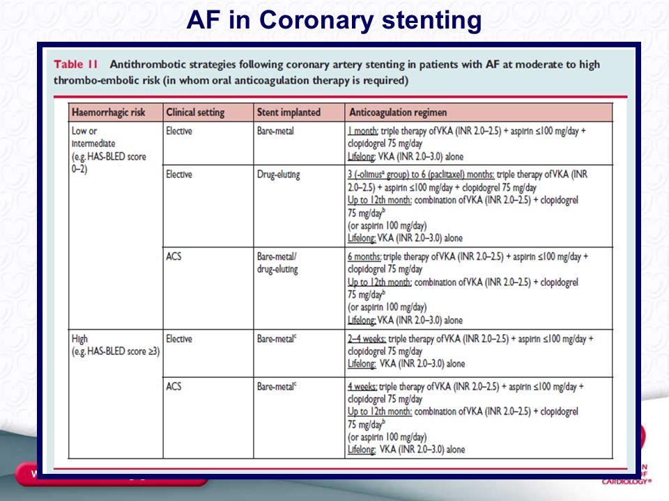 www.escardio.org/guidelines AF in Coronary stenting