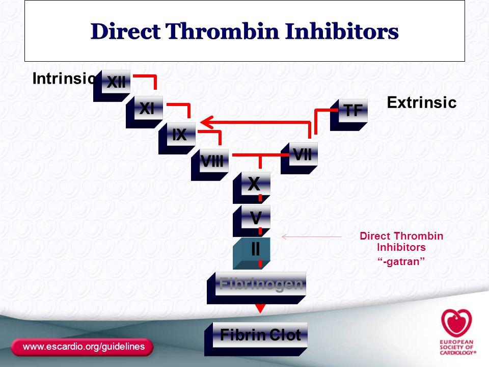www.escardio.org/guidelines Direct Thrombin Inhibitors Fibrin Clot XII VII VIII IX XI Fibrinogen II V X TF Intrinsic Extrinsic Direct Thrombin Inhibit