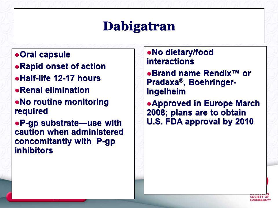 www.escardio.org/guidelines Dabigatran ●No dietary/food interactions ●Brand name Rendix™ or Pradaxa ®, Boehringer- Ingelheim ●Approved in Europe March