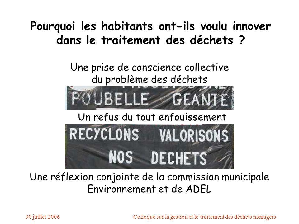 30 juillet 2006Colloque sur la gestion et le traitement des déchets ménagers Pourquoi les habitants ont-ils voulu innover dans le traitement des déchets .