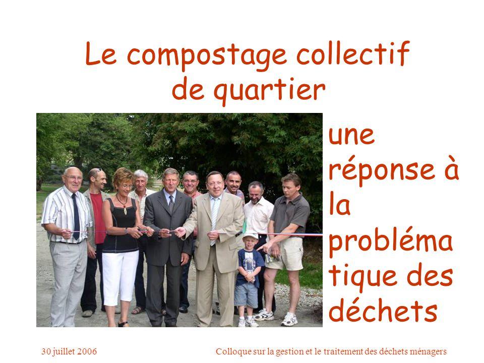 30 juillet 2006Colloque sur la gestion et le traitement des déchets ménagers Le compostage collectif de quartier une réponse à la probléma tique des déchets