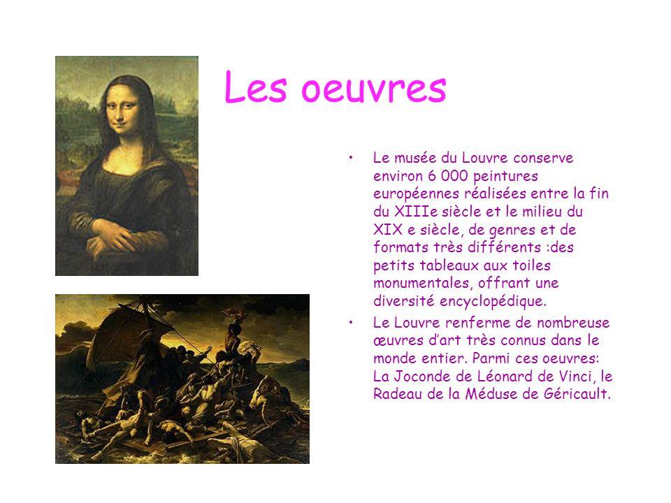Les oeuvres Le musée du Louvre conserve environ 6 000 peintures européennes réalisées entre la fin du XIIIe siècle et le milieu du XIX e siècle, de ge