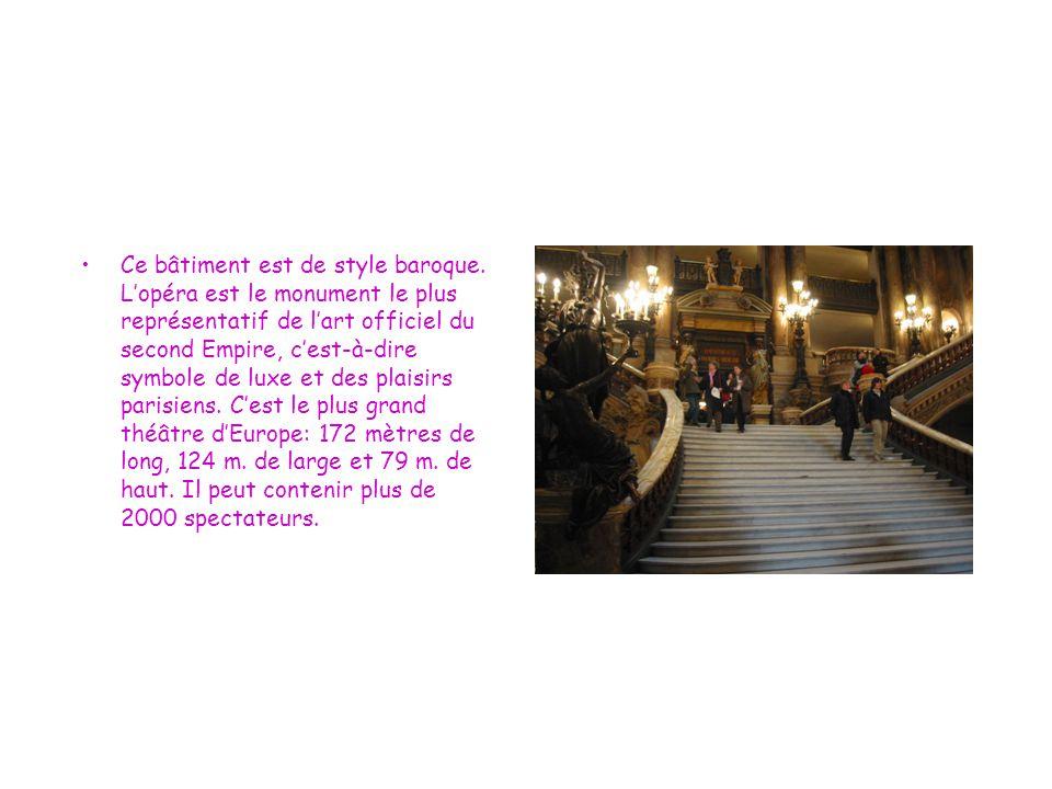 Ce bâtiment est de style baroque. L'opéra est le monument le plus représentatif de l'art officiel du second Empire, c'est-à-dire symbole de luxe et de