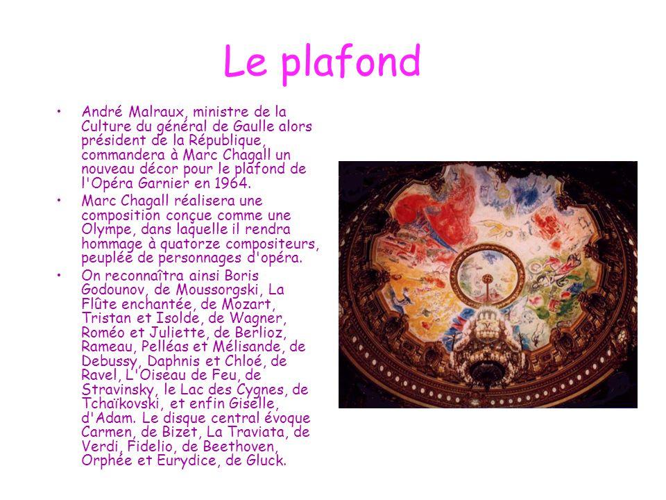 Le plafond André Malraux, ministre de la Culture du général de Gaulle alors président de la République, commandera à Marc Chagall un nouveau décor pou