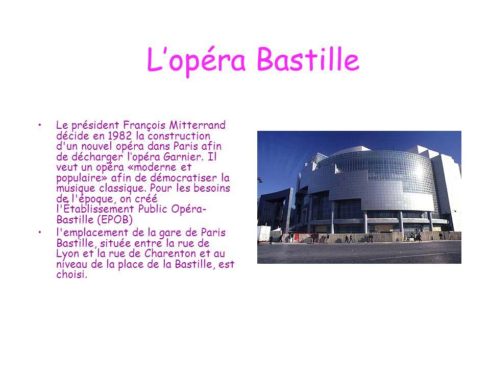 L'opéra Bastille Le président François Mitterrand décide en 1982 la construction d'un nouvel opéra dans Paris afin de décharger l'opéra Garnier. Il ve