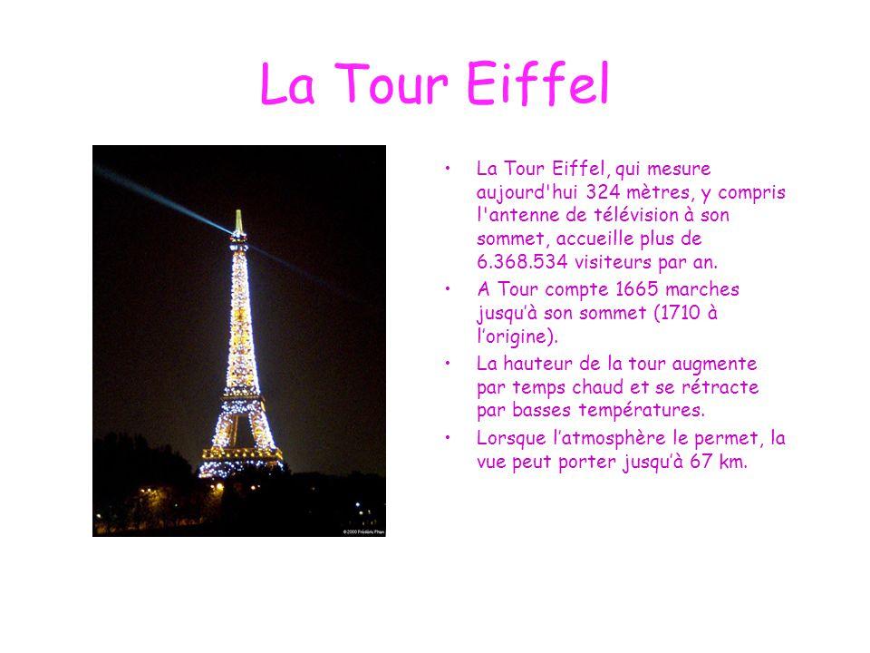 La Tour Eiffel La Tour Eiffel, qui mesure aujourd'hui 324 mètres, y compris l'antenne de télévision à son sommet, accueille plus de 6.368.534 visiteur