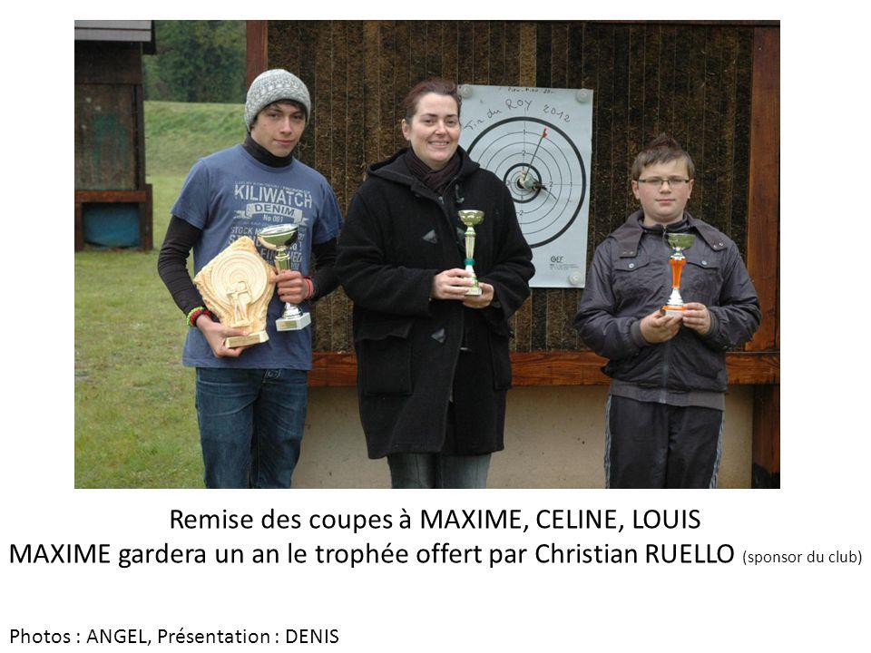 Remise des coupes à MAXIME, CELINE, LOUIS MAXIME gardera un an le trophée offert par Christian RUELLO (sponsor du club) Photos : ANGEL, Présentation :