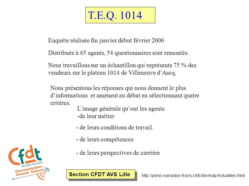 Section CFDT AVS Lille http://perso.wanadoo.fr/avs-cfdt.lille/mdp/Actualites.html Enquête réalisée fin janvier début février 2006 Distribuée à 65 agents, 54 questionnaires sont remontés.