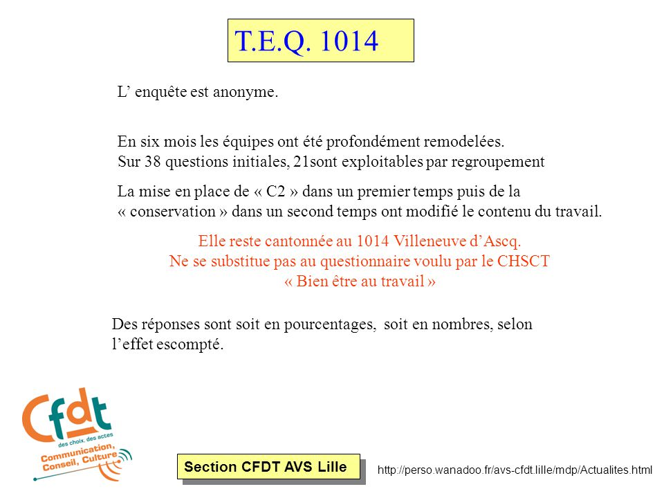 Section CFDT AVS Lille http://perso.wanadoo.fr/avs-cfdt.lille/mdp/Actualites.html T.E.Q.