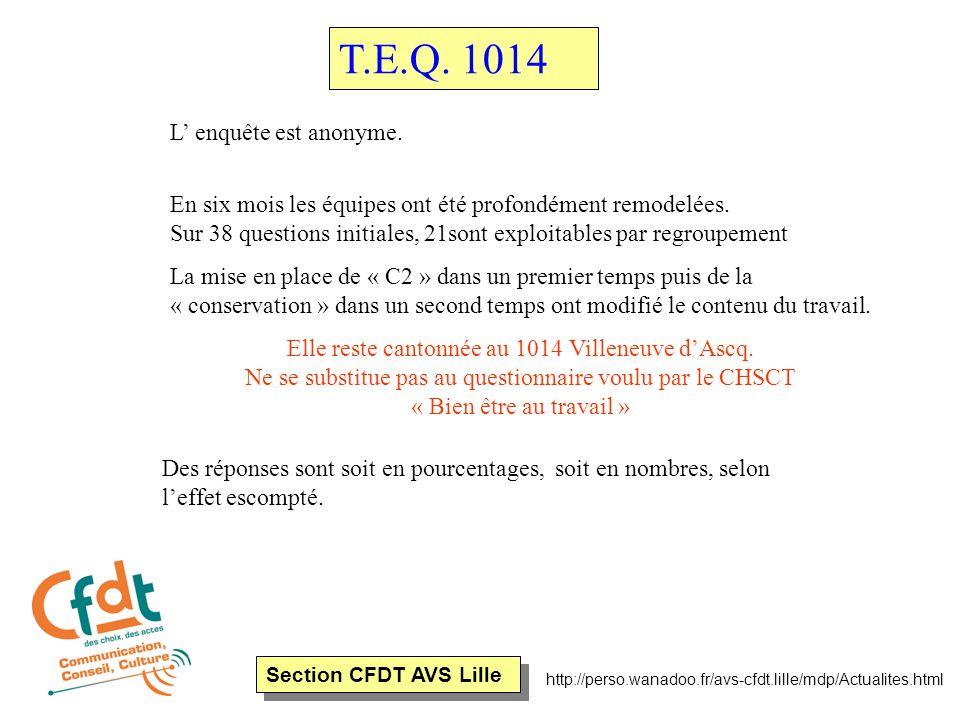 Section CFDT AVS Lille http://perso.wanadoo.fr/avs-cfdt.lille/mdp/Actualites.html Dans sa préparation cette enquête a été réalisée avec l'ARACT ( Agence Régionale de l'Aménagement et Condition de travail ) Le dépouillement des questionnaires s'est fait en tenant compte de deux types de population : AFO ( Agents fonctionnaires ) et ACO ( Agents contractuels ) Elle a été menée conjointement au même moment sur d'autres plateaux téléphoniques de la Région Nord Pas de Calais T.E.Q.