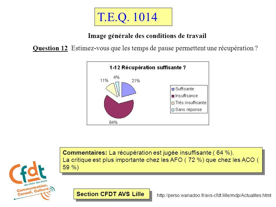 Section CFDT AVS Lille http://perso.wanadoo.fr/avs-cfdt.lille/mdp/Actualites.html Image générale des conditions de travail Question 21 Le plus dur dans votre travail c'est .