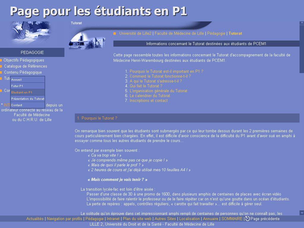 Page pour les étudiants en P1