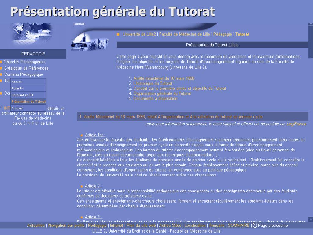 Présentation générale du Tutorat