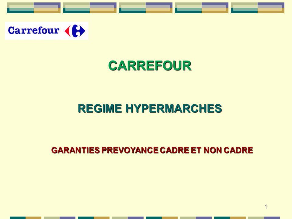1 REGIME HYPERMARCHES CARREFOUR GARANTIES PREVOYANCE CADRE ET NON CADRE